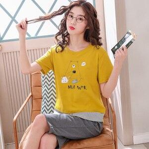 Image 5 - New Summer Pyjamas Women 100%Cotton Cartoon Pajamas Set Short Sleeve Round Neck Sweet Big Size M XXL Female Homewear Clothing