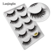 LANJINGLIN 5 pairs faux mink eyelashes natural long false eye lash handmade make up fluffy 3d lashes wispy cils