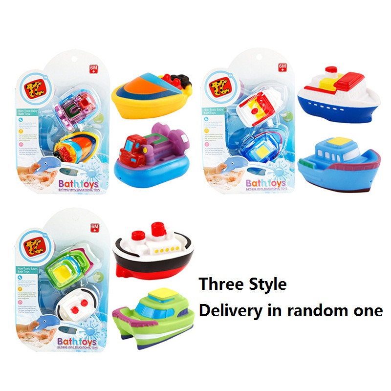 Transportation Vessel Marine life Baby Bath Toy Floating Soft Rubber Water Squeeze Children Playing Toy - Delivery in Random One