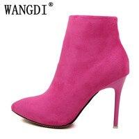 Nueva moda Otoño Invierno mujer boda Botas zip Point toe Thin Tacones altos Botas Rosa naranja rojo púrpura gris azul botas mujer