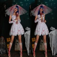 Кровавая Мэри труп Невеста призрак вампир белый косплей костюм платье Хэллоуин Marsqurede костюм