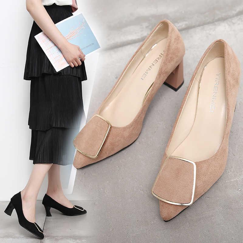 Новинка 2019 года Модные женские сандалии гладиаторы на толстом каблуке из флока