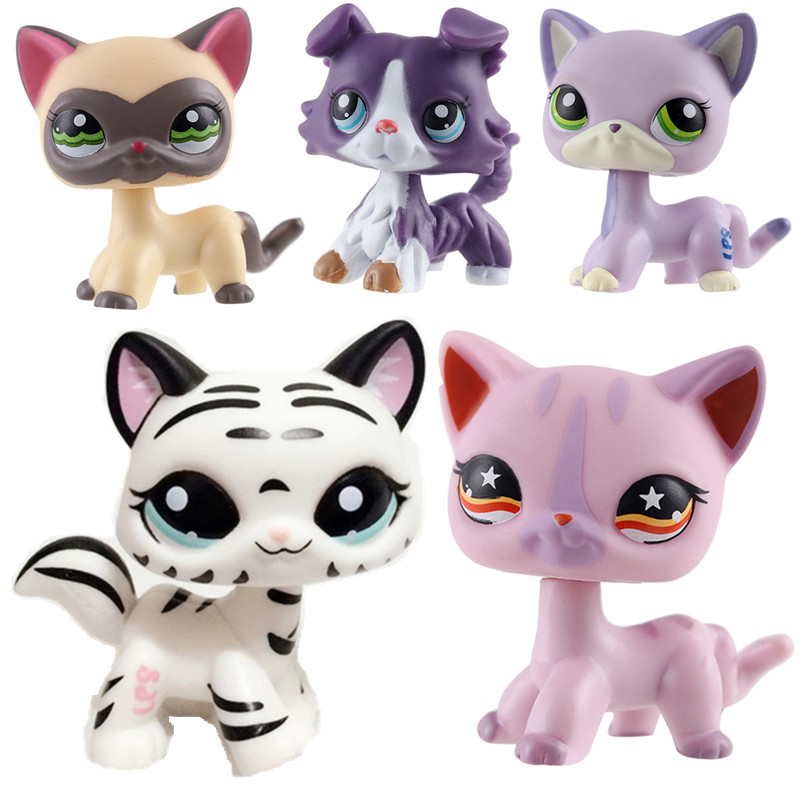 LPS Pet Shop Toy Cat Series Cute Shorthair Cat Tiger Cat Big Dan Sausage Dog Shepherd Action Toy Hobby Collection Gift