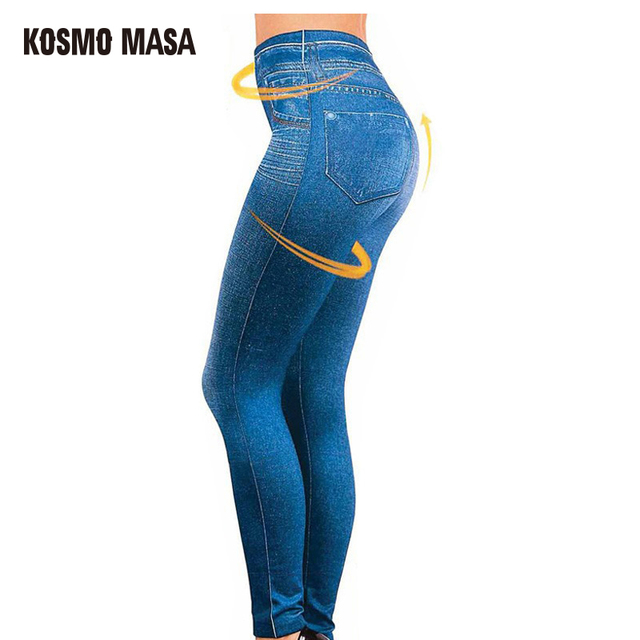 a301eca4a0 KOSMO MASA 2017 Women Polyester Spandex Leggings Jeans Leggins With 2 Real  Pockets Black Blue Gray Jeggings Hot Trousers WL0001