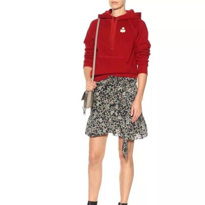 Women Red Long Sleeve Casual Hooded Hoodie Sweatshirt