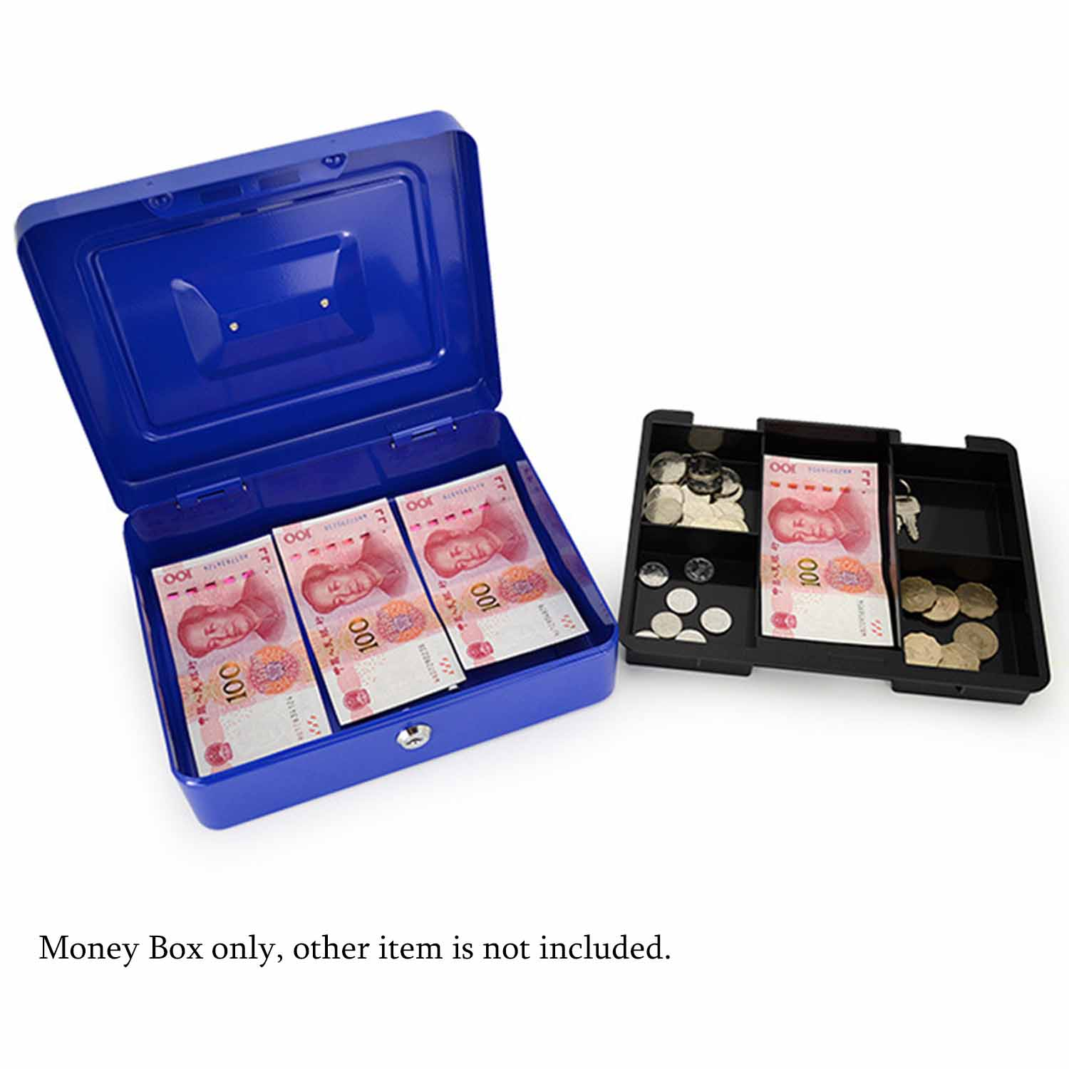 Behokic 10 inch Metal Lockable Cash Coin Money Storage Safe Security Box Holder Suitcase with Lock