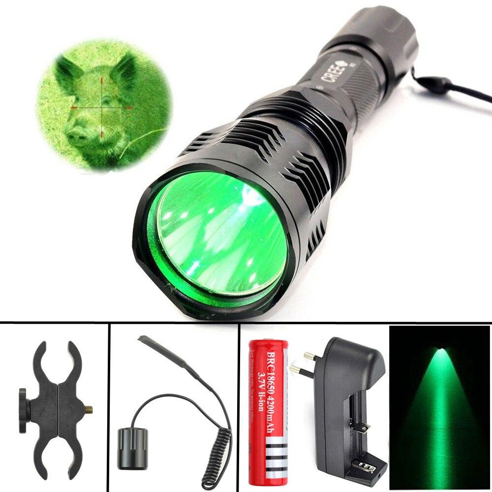 Linterna LED Caza luz verde rojo proyector cree xm-l R2 350 lúmenes en modo encendido/apagado con pistola clip remoto interruptor de presión 18650