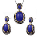 Vintage Lapis lazuli Pendant&Earrings Women 925 Sterling Silver Fashion Jewelry Set Pendant&Earrings TT711