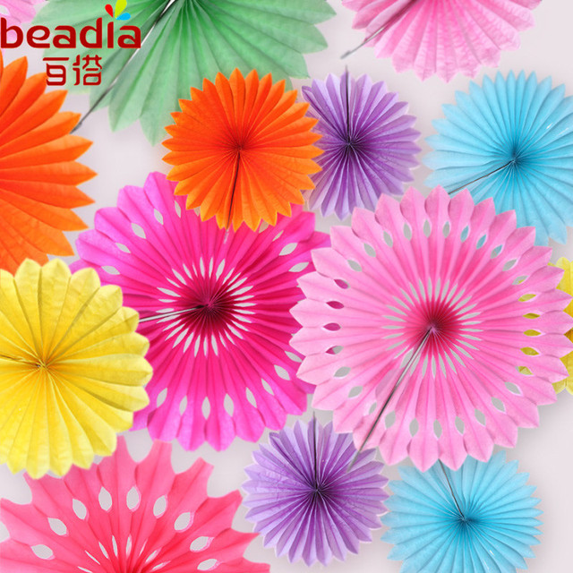 US $2 12 30% OFF|5pcs 20cm Tissue Paper Fans Pinwheels Hanging Flower Paper  Graduation Party Wedding Decoration Paper Fan DIY Supplies -in Party DIY