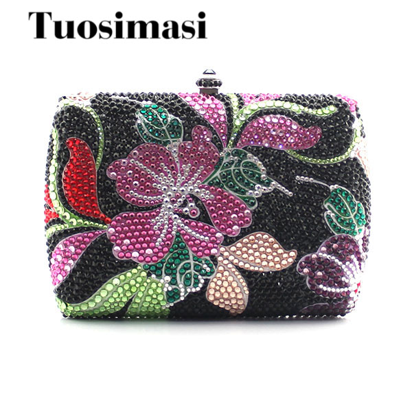 Flower and leave pattern multi women bag sliver chain hot selling party evening bags day clutches(1015BF2) marulong s0002 women s fashionable flower pattern short sleeved nightdress green multi color