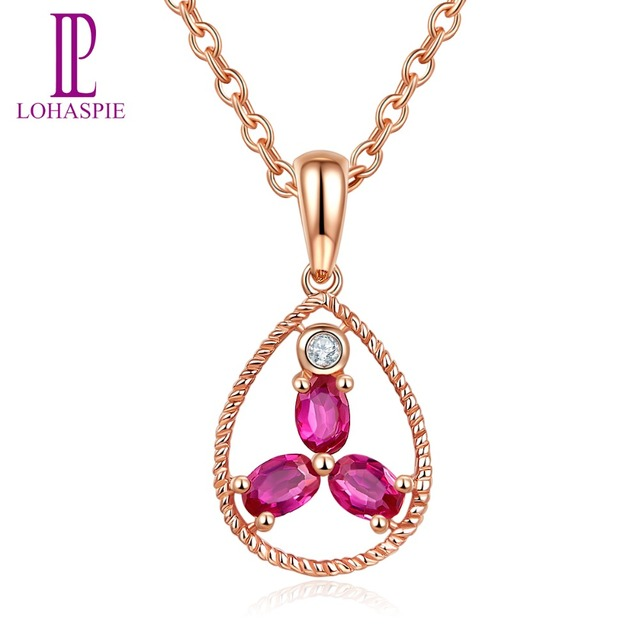 Lohaspie Stone Jewelry 9x17.5mm Pendant Natural Ruby Solid 10K Rose Gold Gemstone Fine Fashion Jewelry For Birthday Gift New