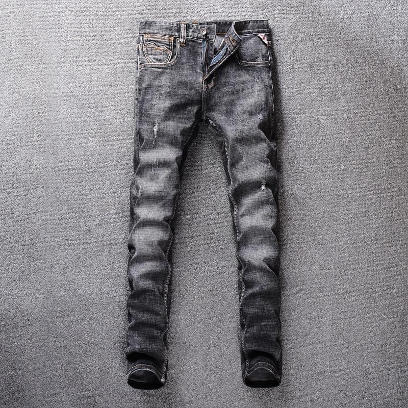 Italie Vintage Designer hommes Jeans noir gris Slim Fit classique Jeans Denim Long pantalon hombre Streetwear Hip Hop déchiré Jeans hommes