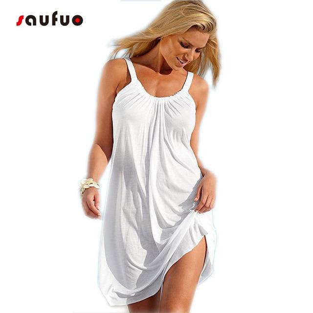Women Summer Loose White Beach Dress Off Shoulder Sleeveless