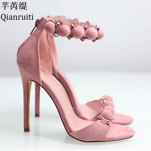 Qianruiti Pink Nude Faux Suede High Heels Sandals Kim Kardashian Style Ankle Strap Women Pumps Open Toe Thin Heels Women Shoes