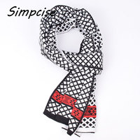 Simpcise Winter Knitted Scarf Man Hot Sale Unilateral Plaid Knit Scarves Men Charm Warm Scarf Shawls