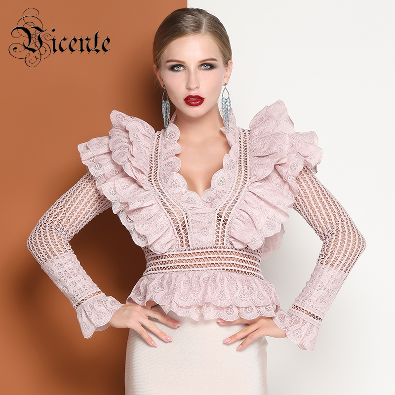Vicente All Free Shipping HOT Chic Lace Ruffles Design Tops Sexy Hollow Out V neck Long