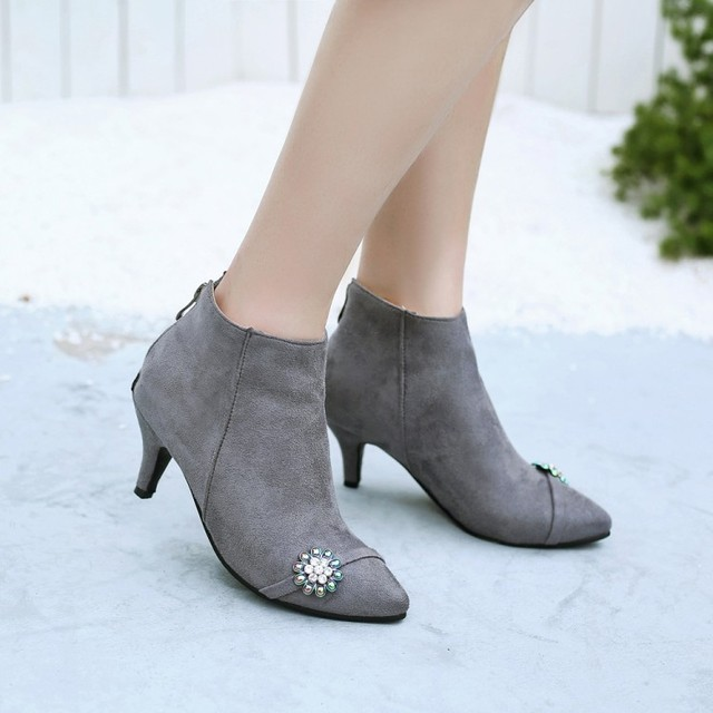 Большие размеры 11, 12, 13, 14, 15, 16, 17, модные ботинки на молнии в европейском и американском стиле с острым носком на тонком каблуке