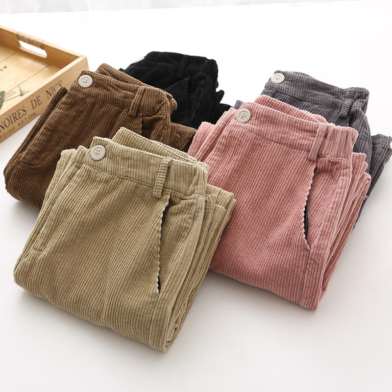 Autumn Corduroy   Wide     Leg     Pants   Women Fashion High Waist Trousers Women Pantalon Femme Casual Corduroy Straight Black   Pants   C4648