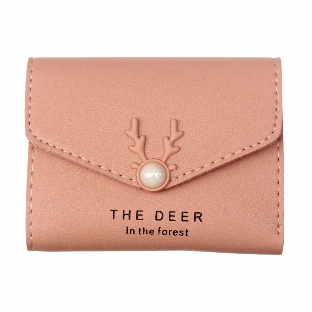 Womens short wallets and purses New fashion lady PU leather small deer Purse Ladies folding wallet card holder Female Carteira