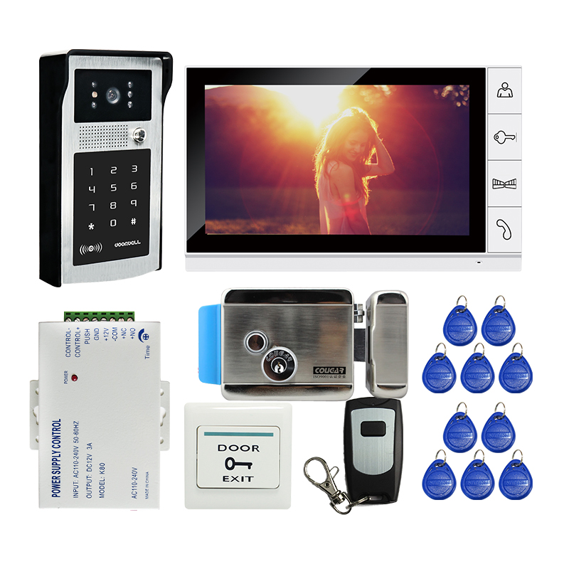 Free Shipping 9 inch LCD Screen Video Door Phone Intercom Kit Outdoor RFID Code Keypad Doorbell Camera Electric Mechanical Lock free shipping wire 7 lcd monitor video intercom door phone kit waterproof rfid code keypad doorbell camera magnetic lock