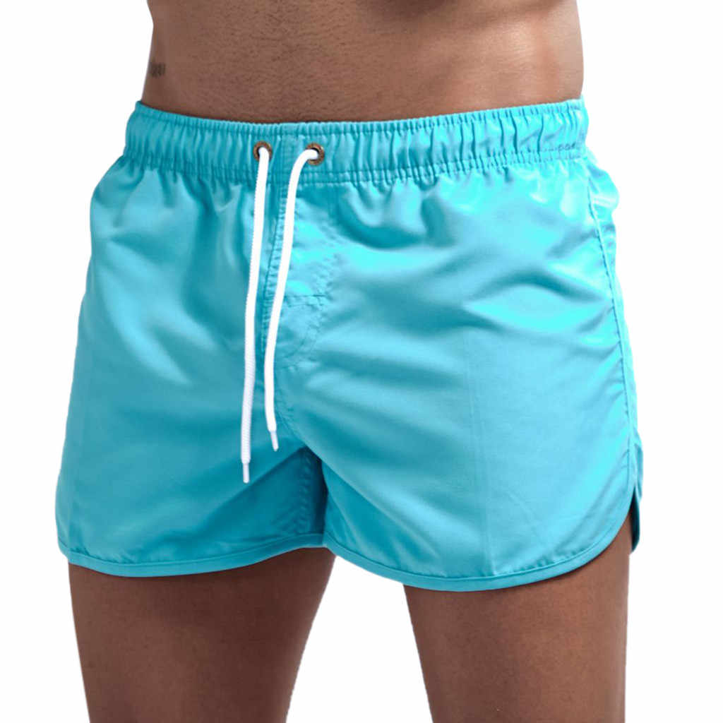 Men's Drawstring Shorts Man Solid Color Elastic Waist Beach Swim Trunks Pocket Quick Dry Beach Surfing Running Watershort #CW