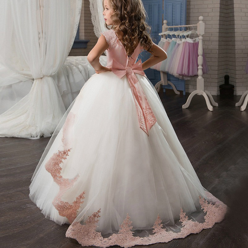 Elegant Flower Girls Princess Dress 2019 Christmas Evening Party Dress Kids Dresses For Girls Clothing Wedding Gown 3 8 14 Years