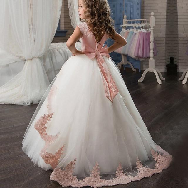 Элегантное платье принцессы; детское вечернее платье для девочек; коллекция 2019 года; Летние Детские платья для девочек; костюм; свадебное платье с цветочным узором для девочек