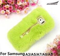 14 Colors Rabbit Fur Plush Covers Real Rex Luxury DIY Mobile Cell Phone Cover DIY Diamond