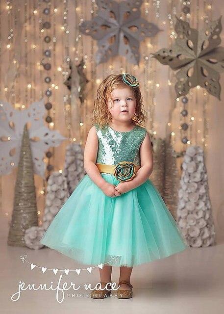 7420df4687 Kwiat Dziewczyny Sukienki Na Wesele Suknie Cekinami Suknie Wieczorowe Dla  Dzieci Zielone Dziewczyny Ubrania Korowód Sukienka