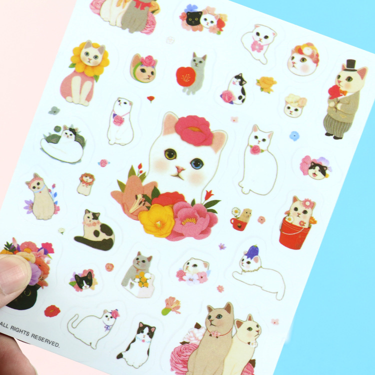 4 Pcs/pack Sweet Warm Meow Cat Decorative Stationery Stickers Scrapbooking DIY Diary Album Stick Label