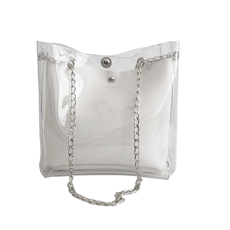 Dropshipping Women Bag Set Transparent Shoulder Bag+Clutch Fashion Chain Jelly Bag For Teenage Girls Beach Crossbody Bag Handbag zhierna new summer korean chain single shoulder bag big handbag fashion picture bags women jelly crystal transparent beach bag