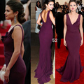 New Arrival Sexy Selena Gomez Red Carpet Dress Dark Purple Mermaid Celebrity Dresses Deep V Neck Hollow Back Long Formal Gowns