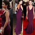 Nueva Llegada Sexy Selena Gomez Red Carpet Dress Púrpura Oscuro sirena de La Celebridad Vestidos de Cuello En V Profundo Hollow Volver Formal Largo vestidos