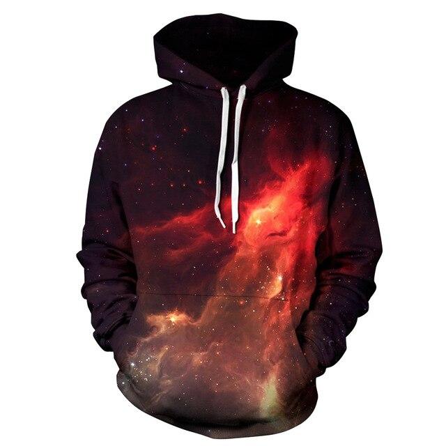 5398cdac7a US $28.11 |2017 nuove Donne Degli Uomini Con Cappuccio Felpe Fiamma 3D  Stampa Digitale Allentato Abbigliamento Casual Paio di Vestiti Star  Universe ...