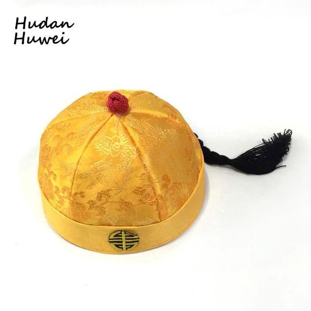 רקום צמת כיפת כתר נסיך כובע לילדים נשים גברים כובע בעל בית קיסר של כובע בסין שושלת GH-378
