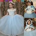 2016 girl Dress Movie Elsa Cosplay elsa Dress Winter Christmas Halloween party kids Shawl cap two - piece baby girls dresses