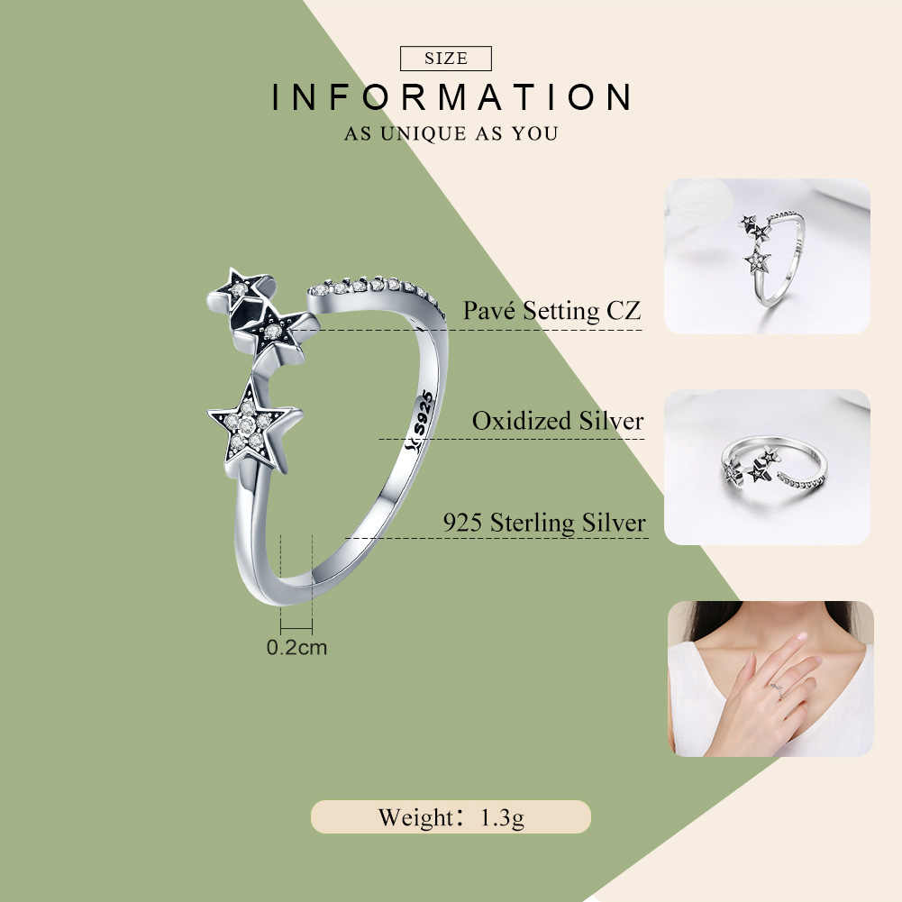 WOSTU Лидер продаж 925 пробы серебро Метеор Звезда, прозрачный Фианит, регулируемые кольца для Для женщин Роскошные S925 Серебряные ювелирные изделия подарок CQR312