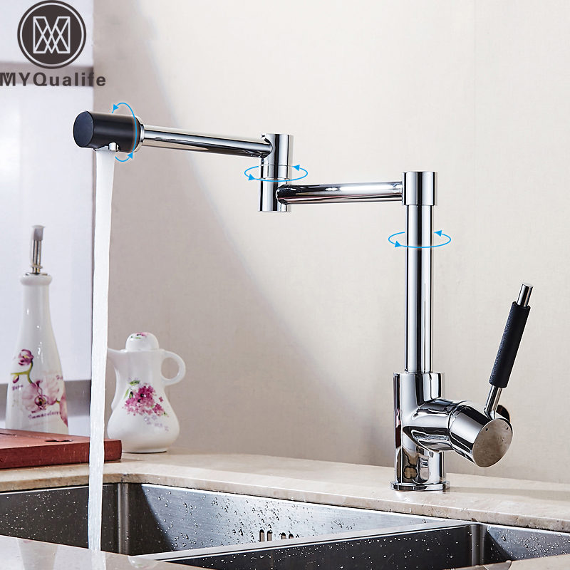 Folding Retractable Kitchen Faucet Chrome Brass Hot and Cold Bathroom Kitchen Sink Faucet Deck Mounted Mixer Taps Swivel Spout hpb brass morden kitchen faucet mixer tap bathroom sink faucet deck mounted hot and cold faucet torneira de cozinha hp4008