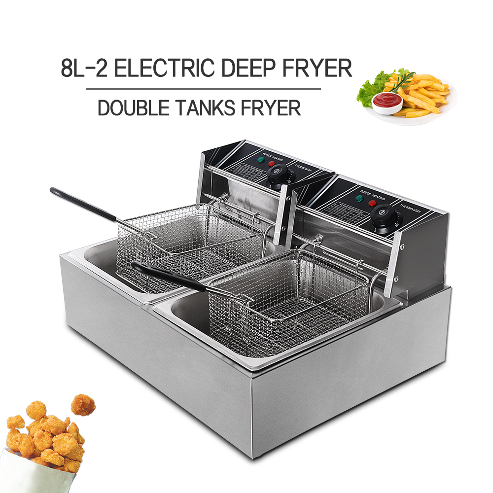 ITOP Commercial Electric Deep Fryers, Single Double Tank 8L/16L Frying Machine,Stainless Steel Potato Chicken Oil Fryer