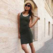 Sexy Bodycon Sleevless Deep O-neck tank Mini Dress