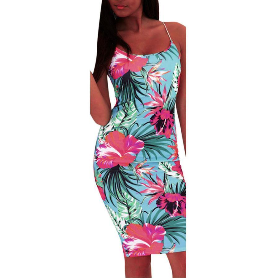 Modern dress casual - Modern Women S Party Knee Length Sleeveless Floral Spaghetti Strap Dress Elegant Casual Bodycon Dress Female