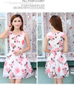 Brand 2017 spring and summer new Korean version of the sleeveless sweet floral dress chiffon pink rose dress Vestidos