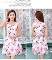 Marca 2017 a primavera eo verão nova versão coreana do mangas sweet floral dress chiffon rosa dress vestidos