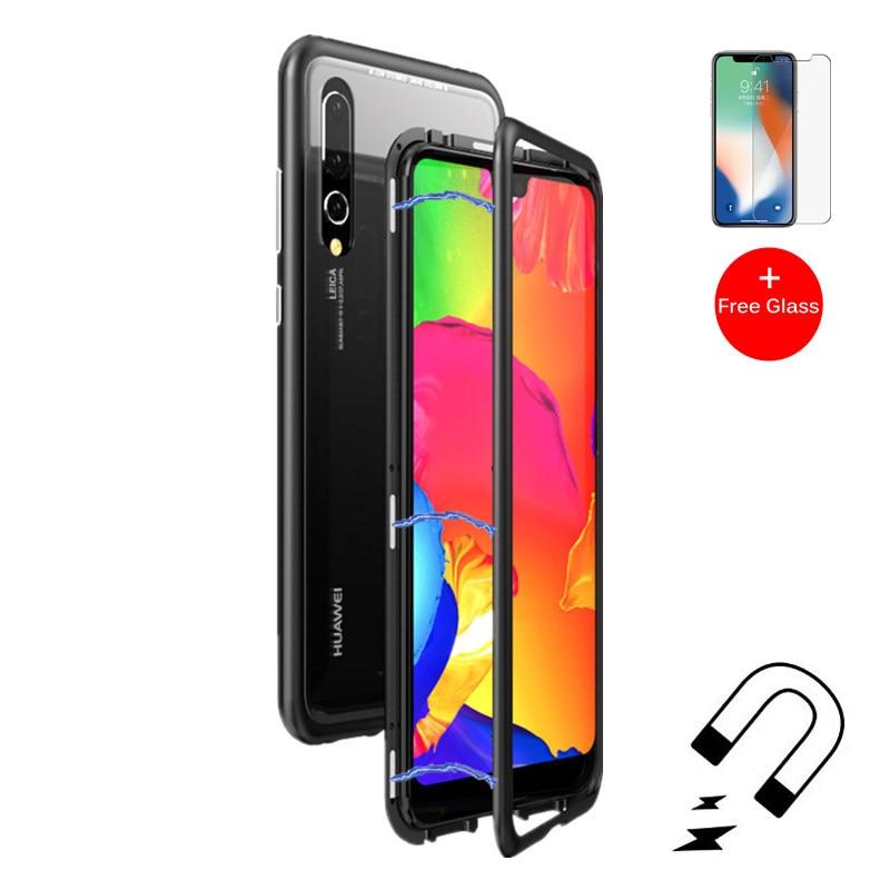 Adsorbimento magnetico Cassa Del Telefono per Huawei P20 Lite Compagno 10 Pro Magnete In Metallo Della Copertura di Vetro Temperato per Huawei Honor 10 p10 Più