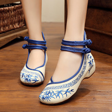 Bamboo Old Beijing Embroidered Women Shoes Mary Jane Flat Heel Denim Chinese Style Casual Cloth Plus Size Shoes SMYXHX-10012