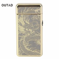OUTAD Portable Size USB Rechargeable Men Cigarette Lighter Box Super Thin USB Electric Arc Windproof Smoke