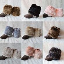 Искусственный мех, плоские манжеты, носки для обуви, высокие зимние носки для обуви, рождественские Вязаные Гетры