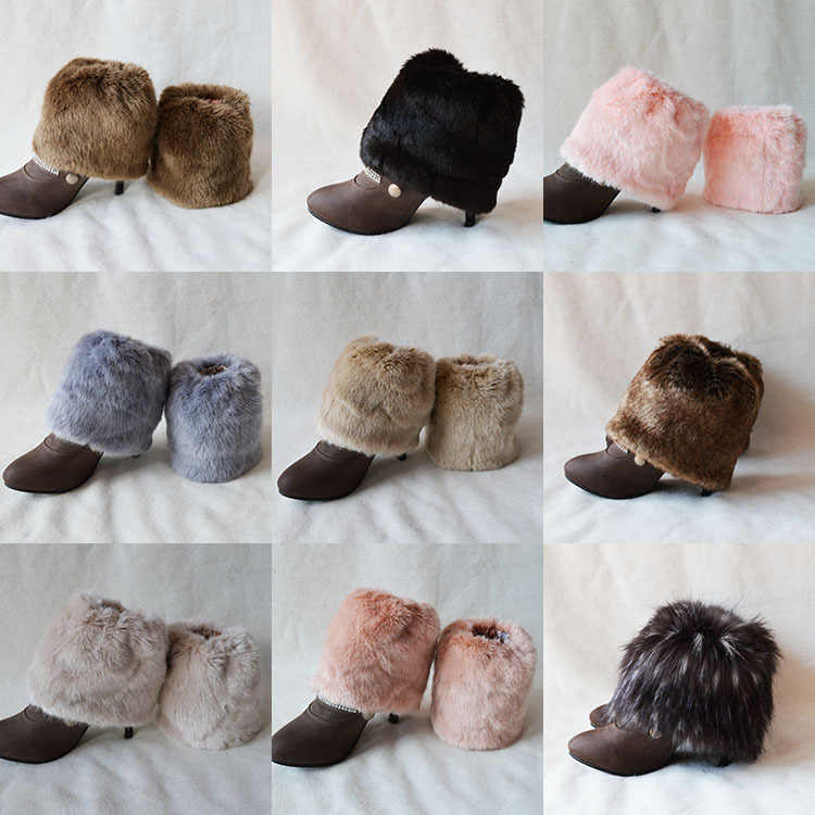 Taklit Kürk Düz Manşetleri Boot çorap Diz Yüksek kış botu Çorap Noel Örme Bacak Isıtıcıları