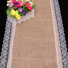 30X180cm Lace Hemp Table Runner Christmas Party Wedding Decoration