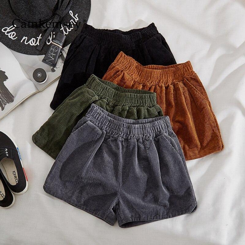 CamKemsey Autumn Winter Women   Shorts   Casual Pockets Elastic High Waist Vintage Corduroy   Shorts   Womens Clothing